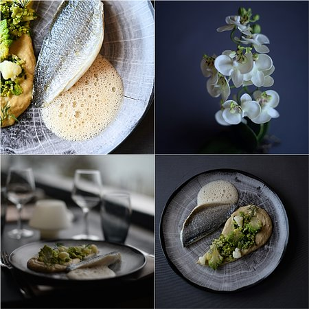 Filet de daurade, emulsion d'Apremont, Cru-cuit de Choux