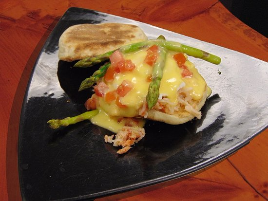 Prescott, WI: Lobster & Asparagus Eggs Benedict from our breakfast menu