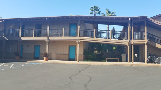 """El Pueblo Inn: Our """"High End Room"""" on the bottom floor center of photo. Opening on to Parking Lot"""