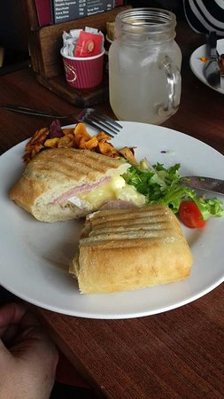 Coffee Cup Eastney: Brie and bacon panini with vegetable crisps and salad (already started eating, sorry!)