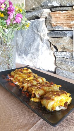 Paleokastro, Greece: Aubergine Roll filled with pork mince