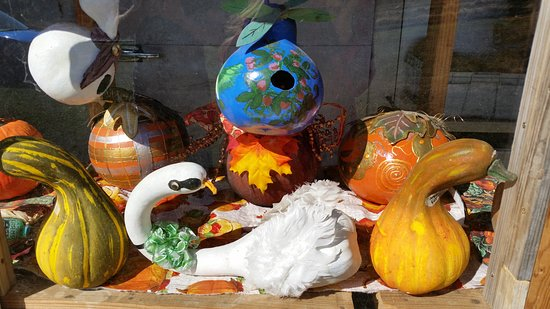 Clarksville, AR: A display of arts & crafts gourds done by Debbie Cox