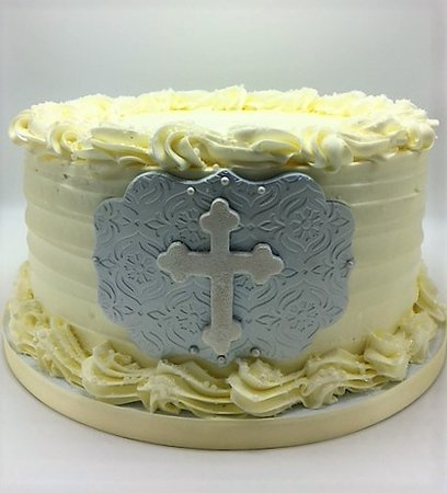 Flavor Cupcakery Bake Shop Simple But Elegant Baptism Cake