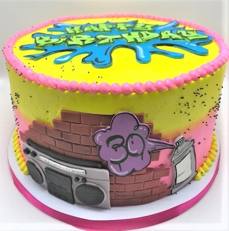 Flavor Cupcakery Bake Shop Colorful 80s Graffiti 30th Birthday Cake