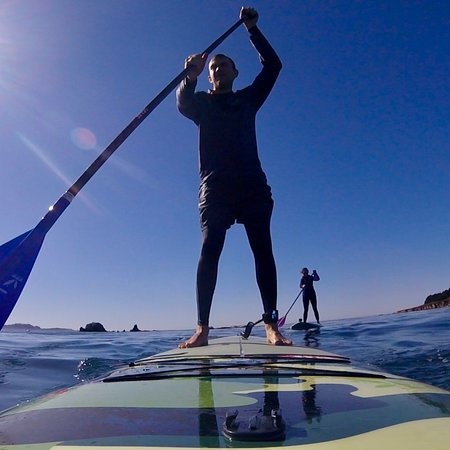 Brent Allen Outside: 2018 blue skies , sunshine , and the beautiful Carmel Bay . Stand Up Paddle Boarding with Brent