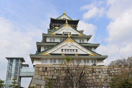 Osaka Castle and the elevator