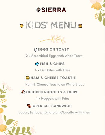 We're thrilled to announce that KIDS' MENU at Sierra Cafe Centre Place is ready!