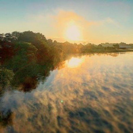 Early morning view from the Great South Road bridge over Waikato river towards Turangawaewae mar