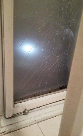 Broken window in the bathroom