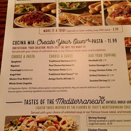 Create Your Own Menu Picture Of Olive Garden Lynnwood
