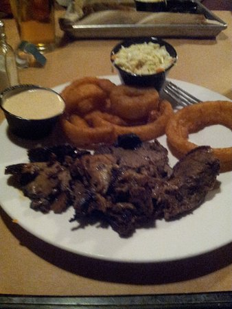 Farmville, VA: Brisket, onion rings, coleslaw and roumalade dill sauce