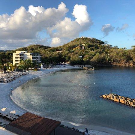 Cap Estate, St. Lucia: View beach family side. Sulphuric springs. Boat trip vendors on beach, great trip. Infiniti pool