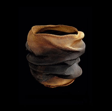 Africa and Beyond : Contemporary Hand-Woven Wire Cuff, Oxidized and Plated in 18k gold