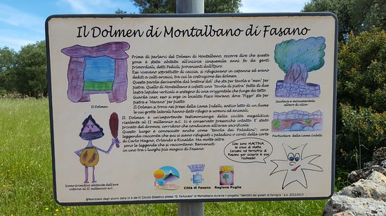 Montalbano, Italie : Cartello informativo sul Dolmen
