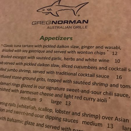 Greg Norman Restaurant Myrtle Beach Menu