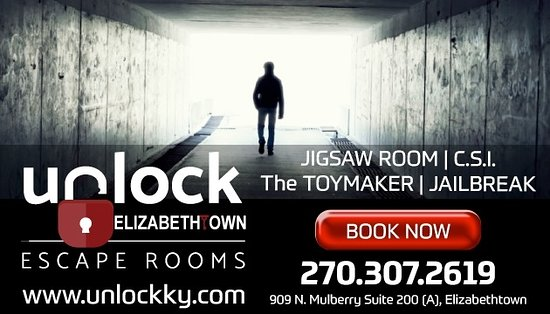 เอลิซาเบททาวน์, เคนตั๊กกี้: Unlock: Elizabethtown Escape Rooms is NOW OPEN with four escape rooms to choose from!  BOOK NOW!