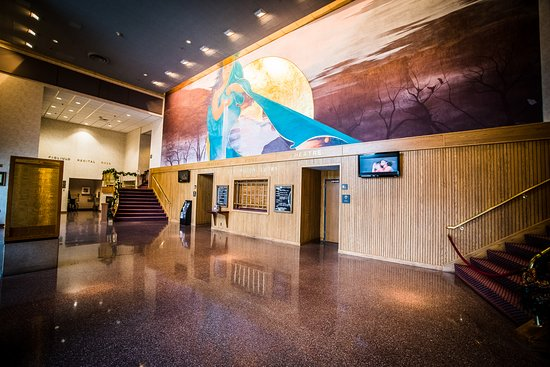 "Page Theatre: The Ben Miller Lobby features ""The Mediatrix,"" a one-of-a-kind fresco by renowned artist Mark Ba"