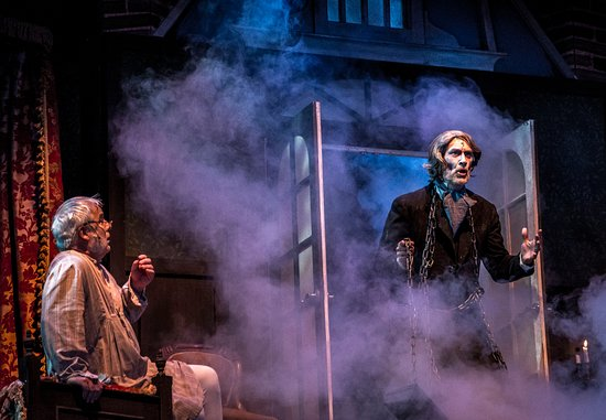 Christmas Carol Scrooge And Marley.Scrooge Qnd The Ghost Of Former Business Partner Jacob