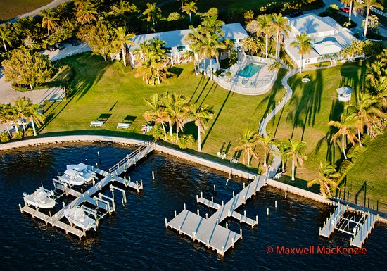 Pineland, FL: Aerial of grounds and waterfront