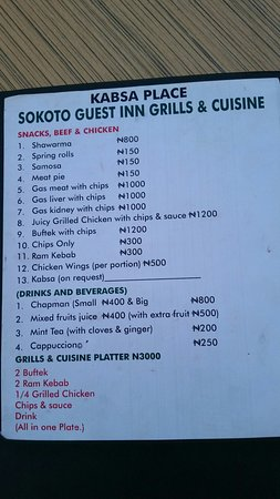 Sokoto, Nigéria: Kabsa snack bar menu. But if you ask you can extend it if they can source the ingredients