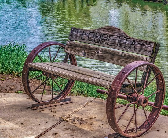 Lourettas Bench  to rest on on Bath Lake in Medicine Park