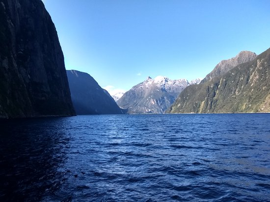 JUCY Cruise: Milford Sound. Breathtaking view of the snow capped moutains in the distance.