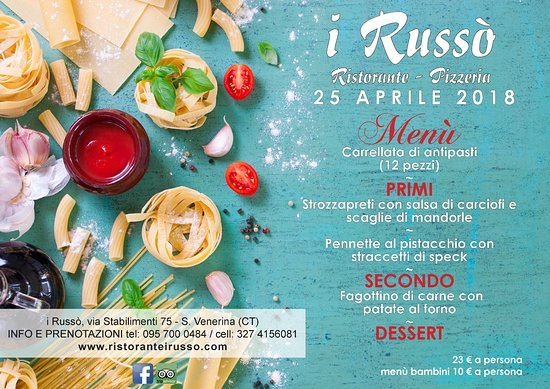 Santa Venerina, Italy: Menu' 25 aprile 2018 i Russò