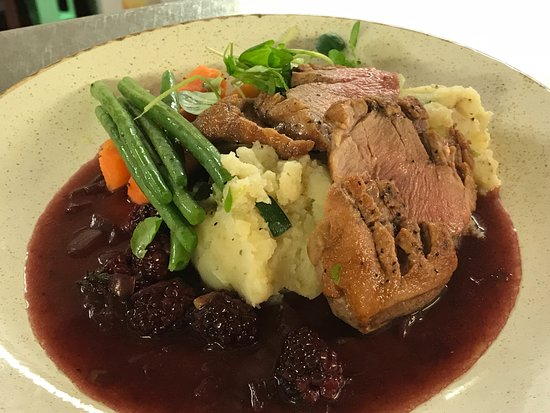 Weston on the Green, UK: Roast Breast Of Duck, Port & Blackberry Sauce, Spring Onion Mash & Seasonal Vegetables