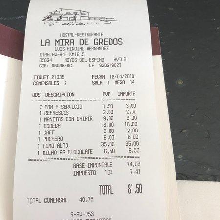 Hoyos del Espino, إسبانيا: Aperitivo muy bueno Manitas deshuesadas riquísimas Judías de escándalo Lomo alto al punto Precio