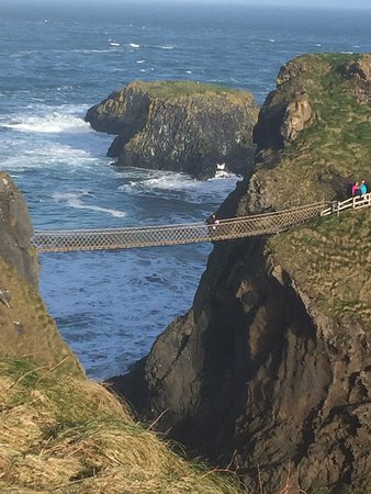 Carrick-A-Rede Rope Bridge: The view from just south of the bridge gives you an idea of its height.