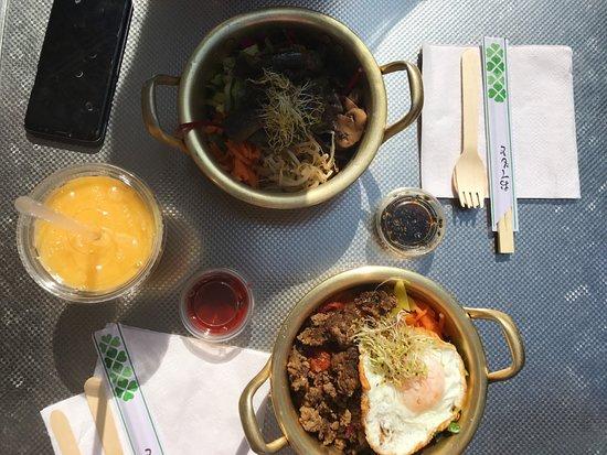 Namul: Korean beef bibimbap and aubergine bibimbap