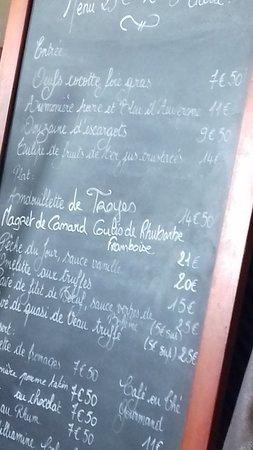 """Mehun-sur-Yevre, Γαλλία: Mehun sur Yèvre """"L'Octroi"""", carte menu"""