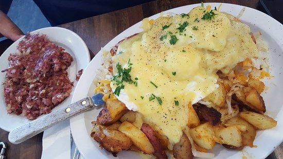 West Springfield, MA: Eggs Benedict & Homemade Hash.