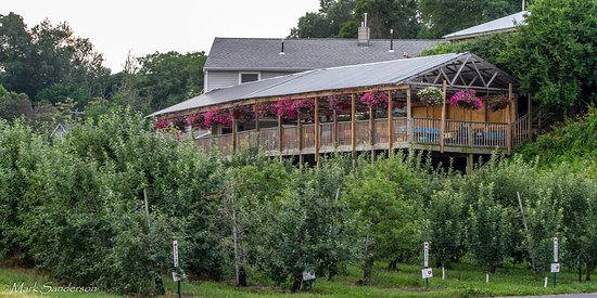 South Glastonbury, คอนเน็กติกัต: The deck is above one of the apple orchards