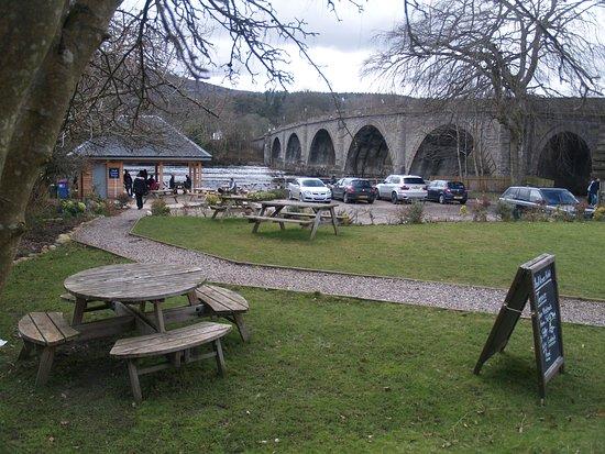 Dunkeld, UK: El  puente desde uno de los bares cafeterías