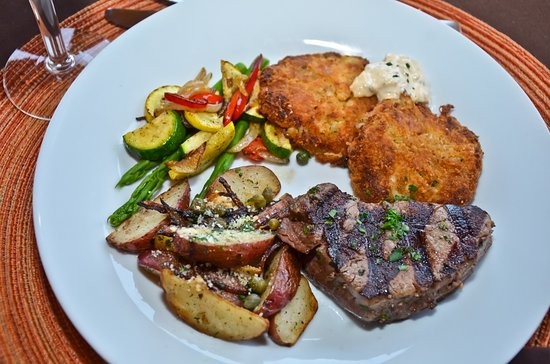 Elements Destination Restaurant: This is one of our Entree Duo options. Medallian of Beef with Crab Cakes & Remoulade.