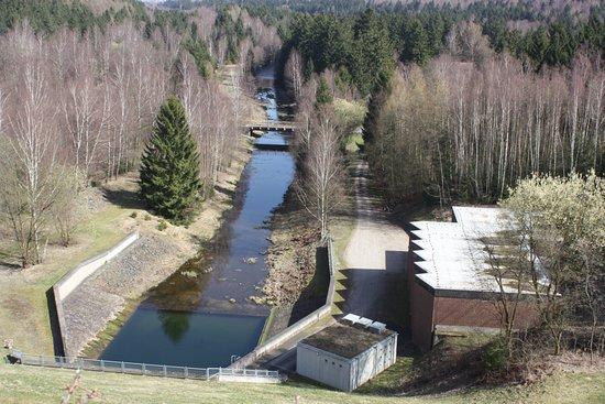Langelsheim, Germany: Spout below the dam.