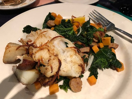 Go Fish: Potato Crusted Cod with kale and sweet potato