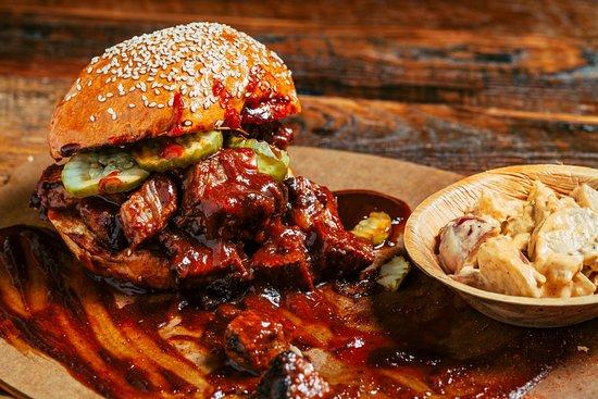 Highland, CA: Kansas City-Style Burnt Ends Sandwich at JBQ at San Manuel Casino.