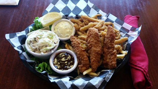 Innsider Bar and Grill: Surf & Yard Basket: 3 Chicken Tenders, Clam Strips and Cole Slaw