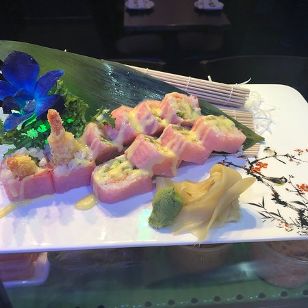 French cake Roll  and romantic  Roll and tuna steak (app) delicious