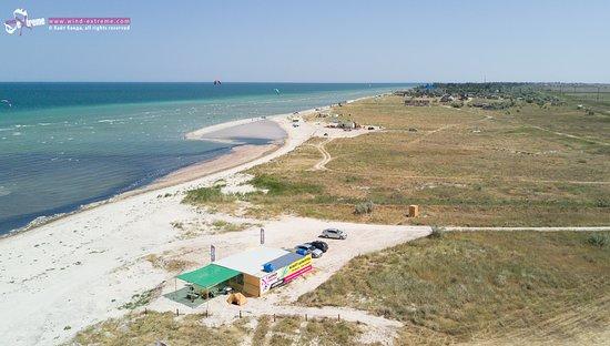 Genichesk, Ukraine: Кайт станция ВиндЭкстрим в Геническе, вид с дрона