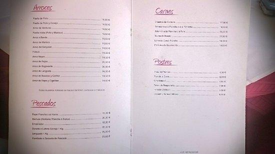 Restaurante La Dehesa Joaquín Castelló: Carta