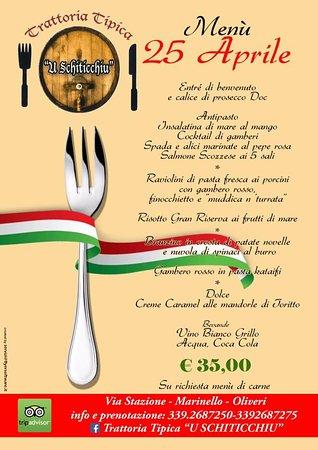 Oliveri, Italien: Ecco il nostro menù per il pranzo del 25 Aprile .