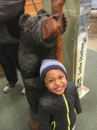 Our son posing with one of the bears!