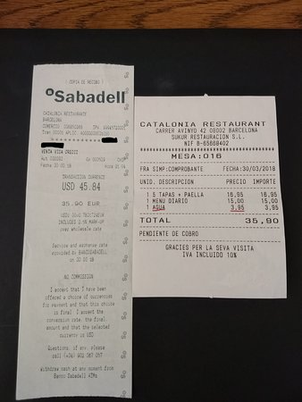 Catalonia Restaurant Credit Card Foreign Exchange With 3 5 Markup And 95 Euro Bottled Water