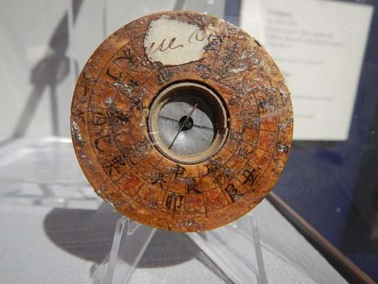 Northfield, VT: A compass circa 1836 - 1854 that is made of laquer, wood, glass, metal and ink.