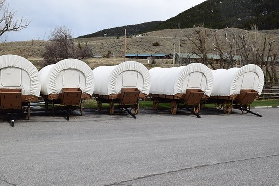Pray, MT: Wagons behind the Lower Lodge.