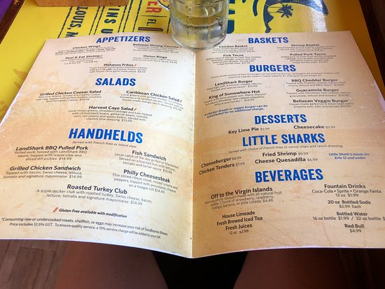 Landshark Menu - Picture of Harvest Caye Norwegian Cruise Line