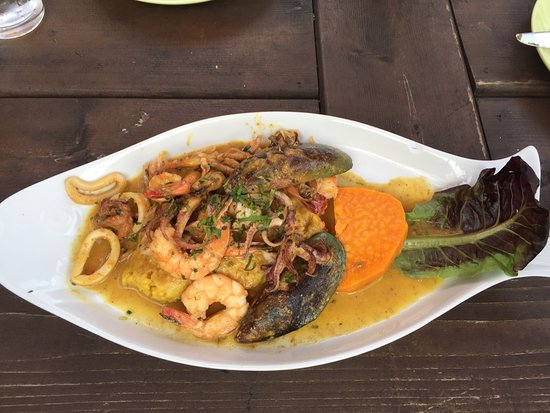 Lambertville, NJ: Mixed seafood over yellow rice with sweet potato
